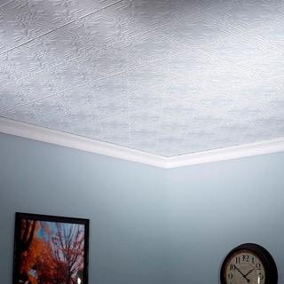 Fasade Regalia Gloss White 2-foot x 4-foot Glue-up Ceiling Tile