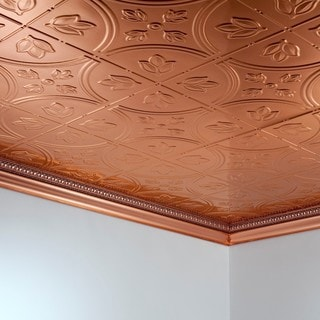 Fasade Traditional Style #5 Polished Copper 2-foot x 4-foot Glue-up Ceiling Tile