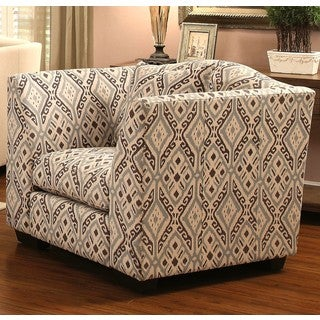 Living Room Upholstered Ikat Print Accent Chair