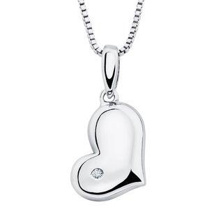 Boston Bay Diamonds Sterling Silver Diamond Accent Heart-shaped Pendant