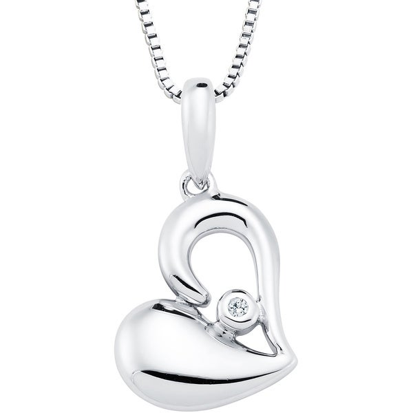 Boston Bay Diamonds Sterling Silver Diamond Accent Sideways Heart Pendant