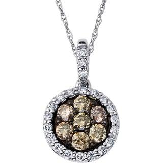 Boston Bay Diamonds 14k White Gold 1/2ct TDW Cognac and Diamond Halo Earrings (H-I, SI1-SI2)