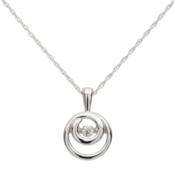 Boston Bay Diamonds Sterling Silver Brilliance in Motion Diamond Double Circle Accent Pendant