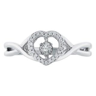 Boston Bay Diamonds Sterling Silver Brilliance in Motion 1/6ct TDW Diamond Heart Ring
