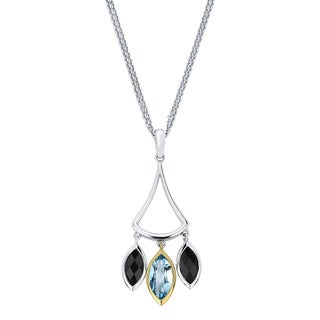 18k Yellow Gold and Sterling Silver Topaz and Black Onyx Pendant