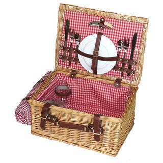 Suitcase Picnic Basket with Serving for 2 and Blanket