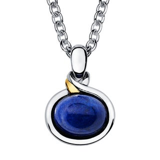 Boston Bay Diamonds 18k Gold and Sterling Silver 8x10mm Cut Lapis Pendant
