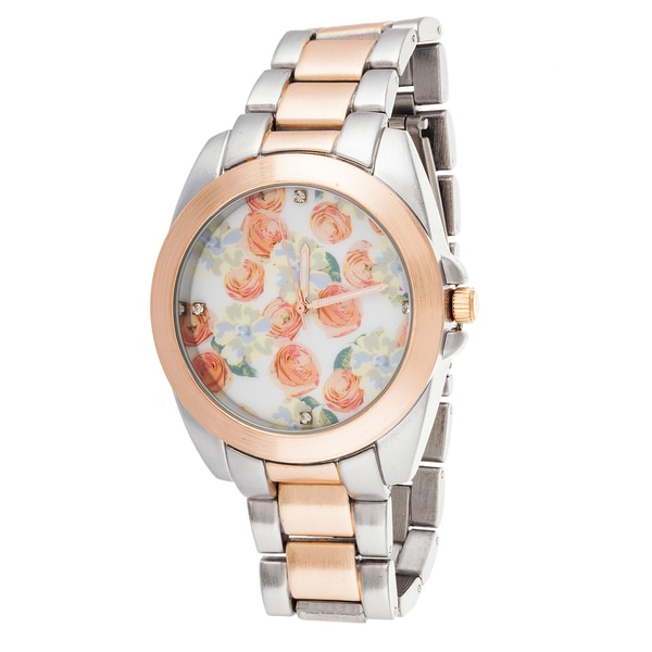 Fortune NYC Boyfriend Rose Gold Flower Dial / Rose Gold & Silver Strap Watch
