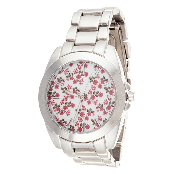 Fortune NYC Boyfriend Silver Case Flower Dial / Silver Strap Watch