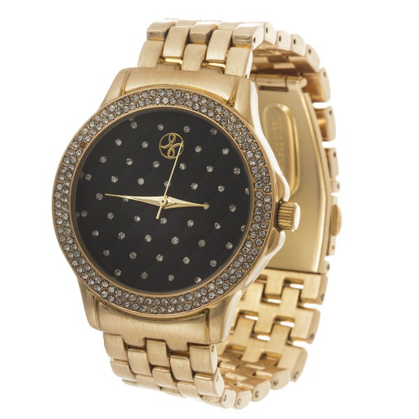 Fortune NYC Boyfriend Gold Case & Crystal Ring / Gold Strap Watch