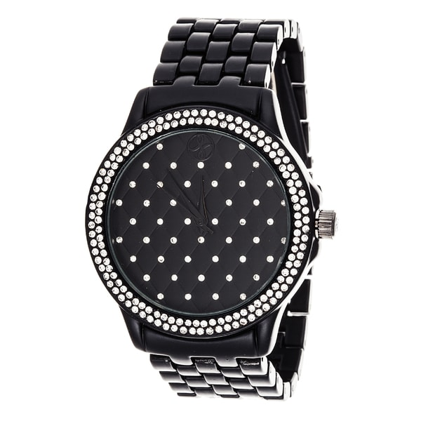 Fortune NYC Boyfriend Black Case & Crystal Ring / Black Strap Watch