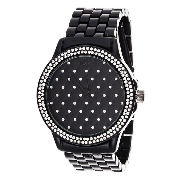 Fortune NYC Boyfriend Black Case & Crystal Ring / Black Strap Watch