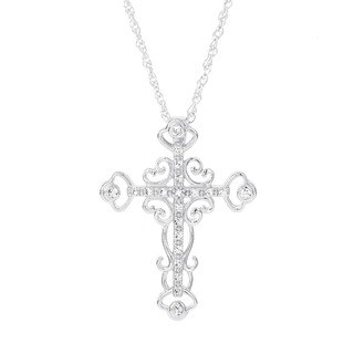 H Star 14k White Gold 1/8ct TDW Diamond Cross Necklace (I-J, I2-I3)