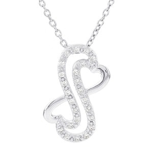 H Star Sterling Silver 1/8ct TDW Diamond Heart Necklace (H-I, I1-I2)