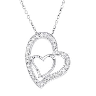 H Star Sterling Silver 1/6ct TDW Diamond Heart Necklace (H-I, I1-I2)
