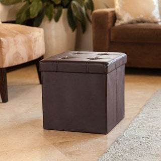 Danya B. Folding Storage Ottoman with Buttons -Brown Faux Leather