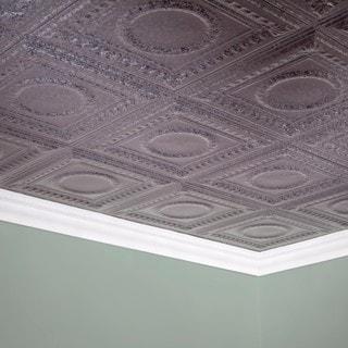 Fasade Rosette Galvanized Steel 2 ft. x 4 ft. Glue-up Ceiling Tile