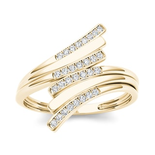 De Couer 10k Yellow Gold 1/10ct TDW Diamond Triple Ribbon Ring (H-I, I2)
