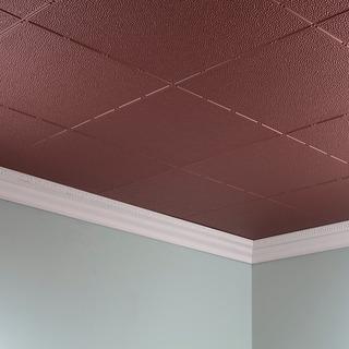 Fasade Hammered Argent Copper 2 ft. x 4 ft. Glue-up Ceiling Tile