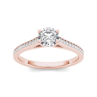 De Couer 14k Rose Gold 1/2ct TDW Diamond Classic Engagement Ring (H-I, I2)