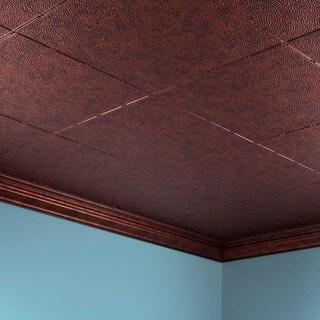 Fasade Hammered Moonstone Copper 2 ft. x 4 ft. Glue-up Ceiling Tile