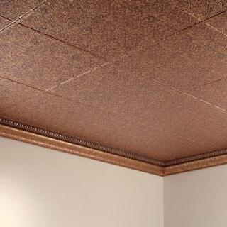 Fasade Hammered Cracked Copper 2 ft. x 4 ft. Glue-up Ceiling Tile