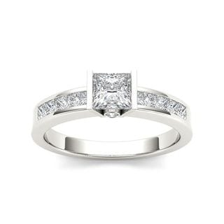 De Couer 14k White Gold 1ct TDW Diamond Princess-cut Half-Bezel Engagement Ring (H-I, I2)