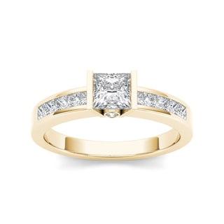 De Couer 14k Yellow Gold 1ct TDW Diamond Princess-cut Half-Bezel Engagement Ring (H-I, I2)