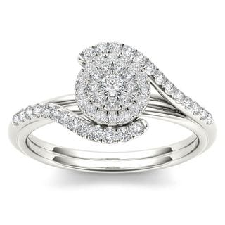 De Couer 10k White Gold 3/8ct TDW Diamond Bypass Halo Engagement Ring (H-I, I2)