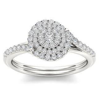De Couer 10k White Gold 1/2ct TDW Diamond ByPass Double Halo Engagement Ring (H-I, I2)
