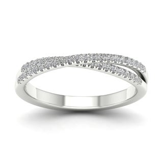 10k White Gold 1/4ct TDW Diamond Double Row Band by De Couer (H-I, I2)