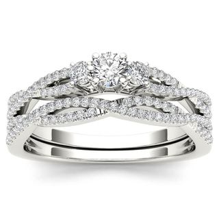 De Couer 14k White Gold 1/2ct TDW Diamond Three-Stone Anniversary Ring with One Band (H-I, I2)