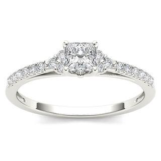 De Couer 10k White Gold 1/2ct TDW Princess-Cut Diamond Ring (H-I, I2)