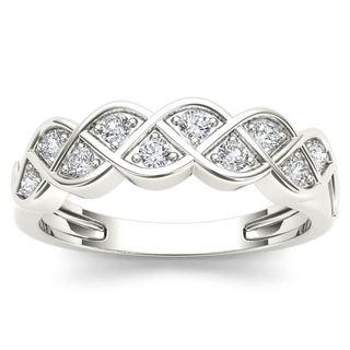 De Couer 10k White Gold 1/4ct TDW Diamond Entangled Lace Ring (H-I, I2)