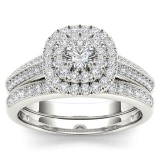De Couer 10k White Gold 7/8ct TDW Diamond Double Halo Engagement Ring Set with One Band (H-I, I2)