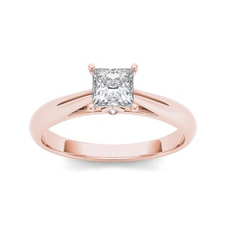 De Couer 14k Rose Gold 1ct TDW Princess-cut Diamond Engagement Ring (H-I, I2)