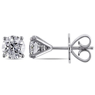 Miadora Signature Collection 18k White Gold 2ct TDW Certified Diamond Earrings (E-F, I1, GIA, IGI)