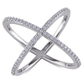 Miadora 14k White Gold 3/8ct TDW Diamond X Ring (G-H, SI1-SI2)