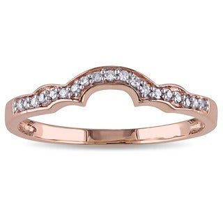 Miadora 10k Rose Gold and 1/10ct TDW Diamond wedding band (G-H, I2-I3)