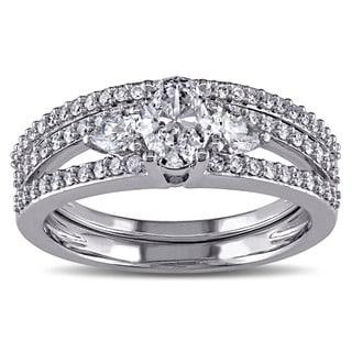 Miadora Signature Collection 14k White Gold 1 1/10ct TDW Certified Diamond Bridal Ring Set (G-H, I1-I2)