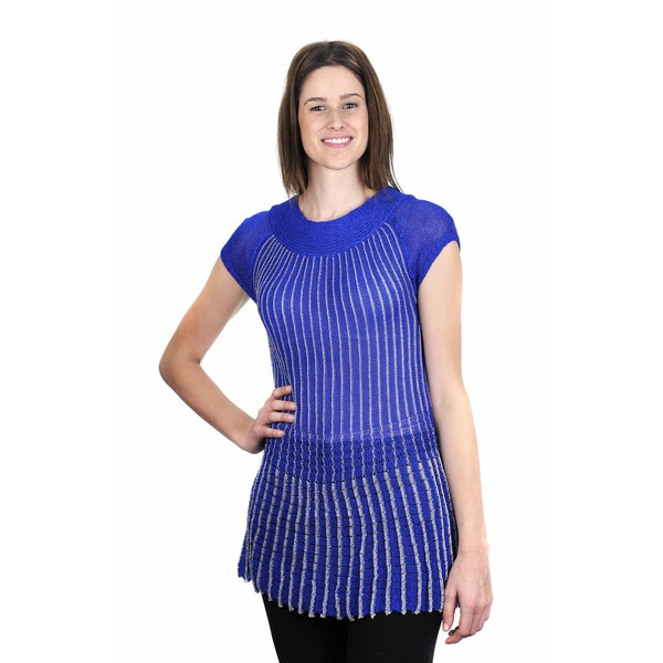 J. Furmani Metallic Striped Knitted Top