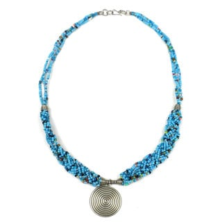 Single Spiral 'Elegance' Braided Blue Bead Necklace (Kenya)