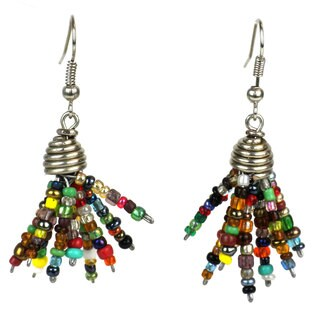 Multicolor Maasai Beaded Spike Earrings (Kenya)
