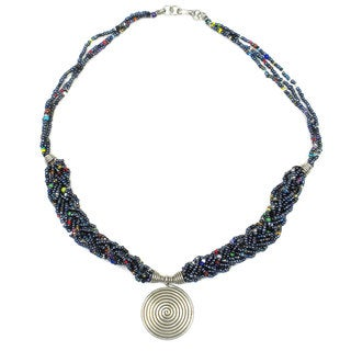 Single Spiral 'Elegance' Braided Black Bead Necklace (Kenya)