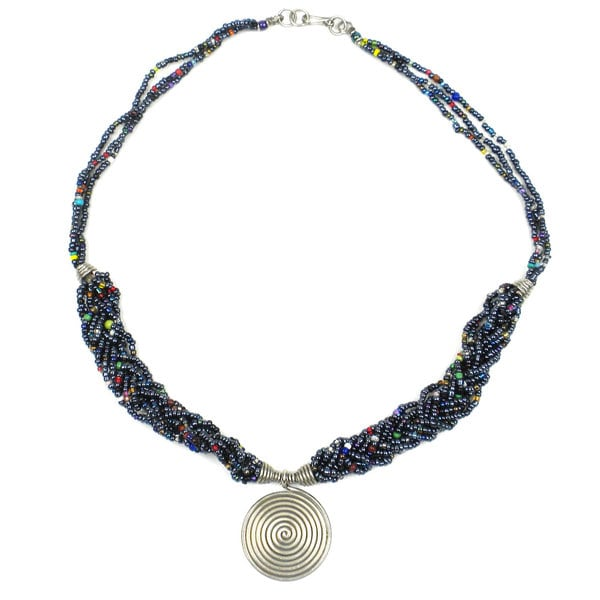Single Spiral 'Elegance' Braided Black Bead Necklace (Kenya)