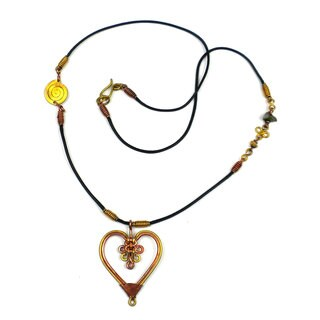 Handcrafted Copper and Brass Heart Pendant Necklace (Kenya)