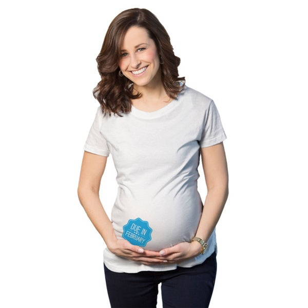 Women's Maternity Due In... February Boy Cotton T-shirt