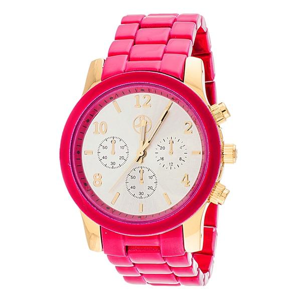 Fortune NYC Boyfriend Gold Case / Pink Matte Strap Watch