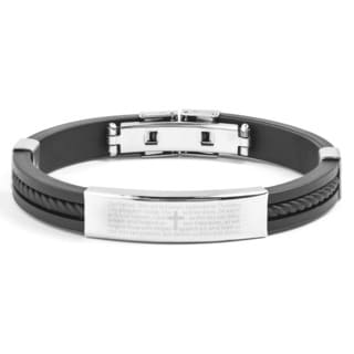 Men's Stainless Steel and Rubber Lord's Prayer ID Bracelet