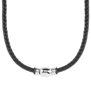 Men's Stainless Steel Beaded Black Braided Leather Necklace